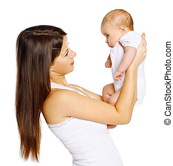 Young happy mother with baby on a white background