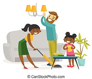 Young happy multiracial family cleaning house.