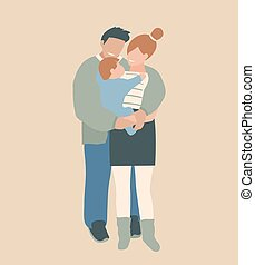 Modern family design standing embracing their offspring together. Modern husband wife happy family art print design.