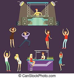 Young Happy People Dancing In Night Club And Drinking In The Bar With DJ Playing Music Cartoon Vector Illustration