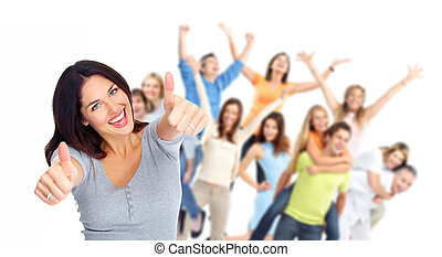 Young happy people portrait. Success. Isolated over white background.