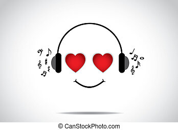 young happy persion illustration of listening to great music...
