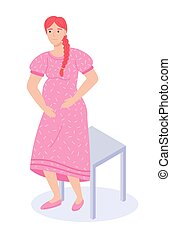 Young happy pregnant girl near the chair. Woman with a big belly, a baby in the womb. Flat image