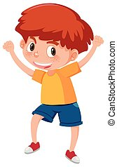 Young happy red haired boy  illustration