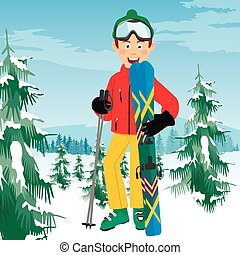 Young happy skier with ski poles poses in coniferous forest in mountains