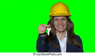 happy smiling business woman or real estate agent with...