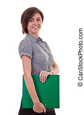 happy smiling business woman with folder