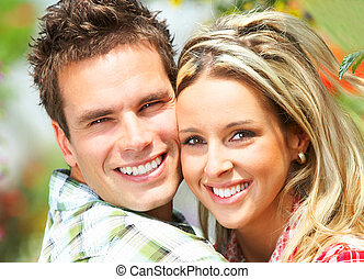 couple in love - Young  happy smiling couple in love