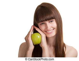 Young happy smiling woman with green apple isolated on white