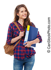 Young happy student with books isolated.