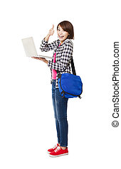 Young happy  student with laptop and thumb up