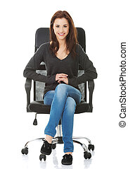 Young happy student woman sitting on a wheel chair