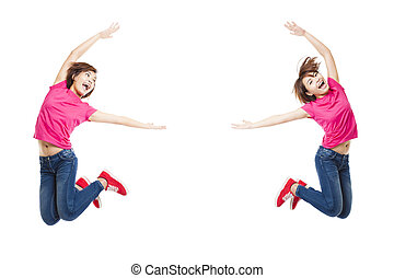 Young happy woman and student jumping