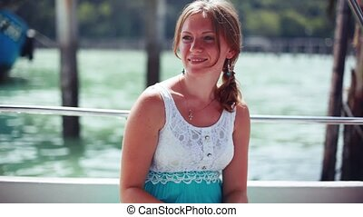 Young happy woman on boat Cruise ship. Young woman traveling on vacation travel sailing on sea ocean. 1920x1080