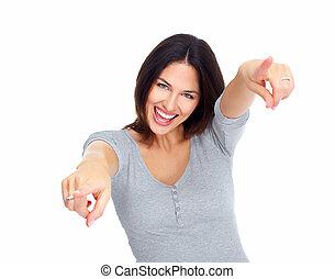 Young happy woman portrait.