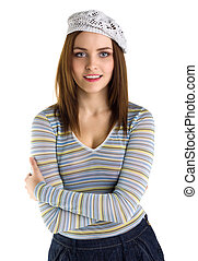 Young happy woman smile isolated