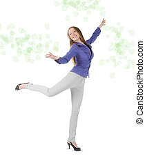 young happy woman standing against white background