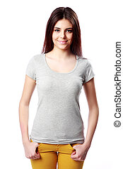 Young happy woman standing on white background