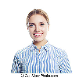 Young happy woman student or businesswoman smiling isolated on white background