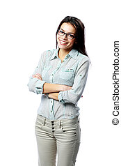 Young happy woman wearing glasses with arms folded isolated on white background