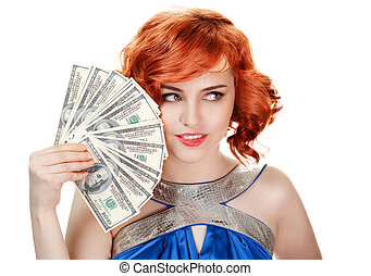 Young happy woman with dollar notes in hand. Isolated on white background.