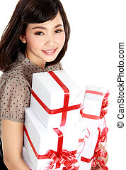 Young happy woman with gift box