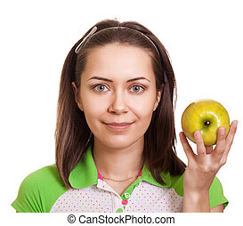 Young happy woman with green apple isolated on white