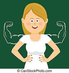 Young happy woman with sketched strong and muscled arms
