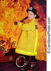 Young Hatchet Weilding Fireman