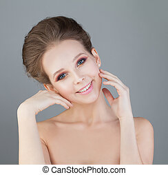 Young Healthy Woman with Fresh Skin. Smiling Fashion Model