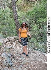 young hiking girl