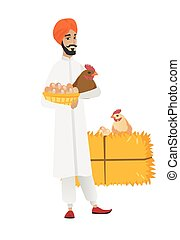 Farmer holding chicken and basket of eggs.