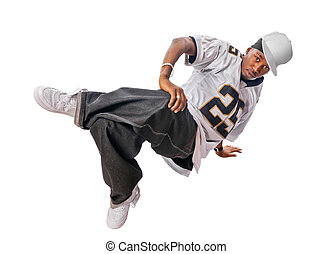 Young hip-hop dancer on white - Cool young hip-hop dancer ...