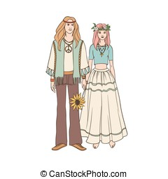 Young hippie man and woman with long hair dressed in loose...