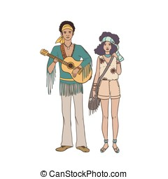 Young hippie man with guitar and woman dressed in ethnic...