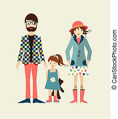 Young hipster family with daughter, little girl. Flat illustration.