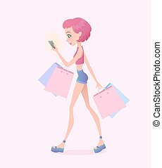 Young hipster girl going down the street with shopping bags and holding smartphone in her hand. Vector illustration.