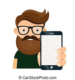 Young hipster person holding smartphone