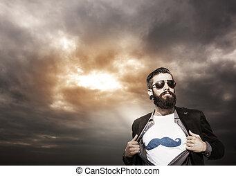 young hipster superhero monitors under a dark sky