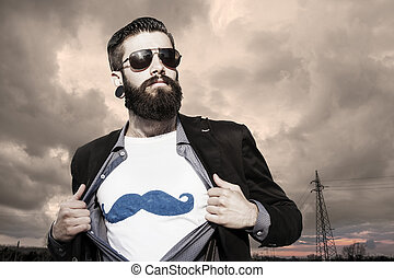 young hipster superhero under a dark sky