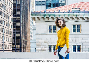 Young Hispanic American College Student Studying in New York City