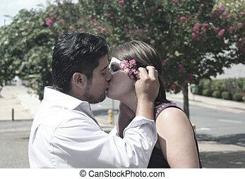 Young Hispanic Couple in Love