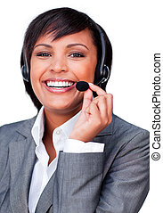 Young hispanic customer service agent with headset on