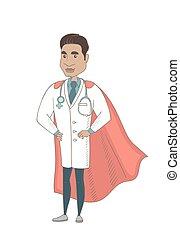 Young hispanic doctor dressed as a superhero.