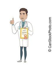 Young hispanic doctor holding a certificate. - Hispanic...