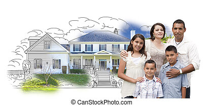Young Hispanic Family Over House Drawing and Photo on White