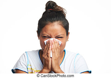 girl with flu virus
