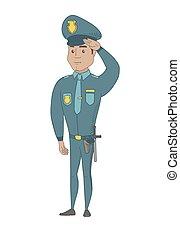 Young hispanic police officer saluting. - Hispanic police...
