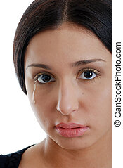 Young hispanic woman crying - portrait Young hispanic woman...