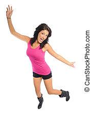 young hispanic woman having fun